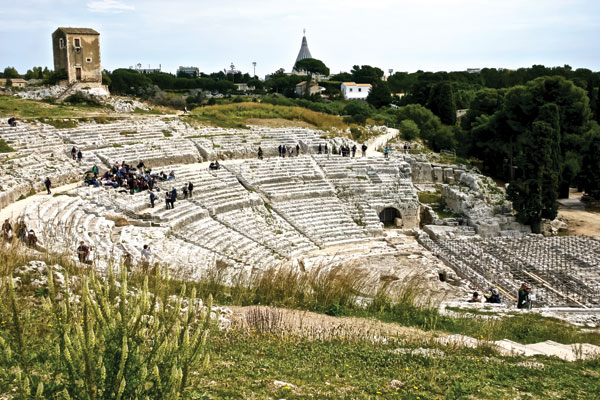 The Greek theatre at Syracuse, designed in the 5th century BC by Damacopos and enlarged in the 3rd and 2nd centuries BC by Hieron II. Aeschylus premiered some of his tragedies here.