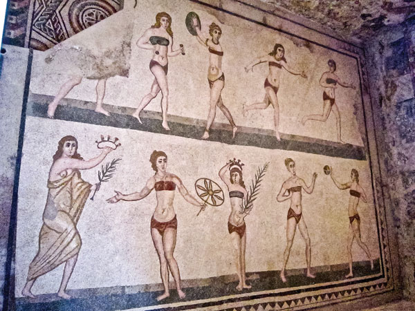The beautiful mosaics in the 3rd- to 4th-century BC estate of the Villa del Casale include these famous female gymnasts.