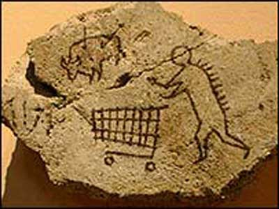 Shopping Trolley On Cave Painting